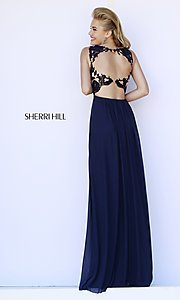 Image of high-neck lace-top formal gown Style: SH-5207 Back Image