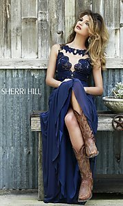 Image of high-neck lace-top formal gown Style: SH-5207 Detail Image 1