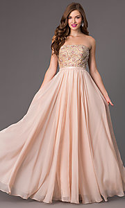 Image of long beaded strapless Sherri Hill prom dress Style: SH-8549 Detail Image 2