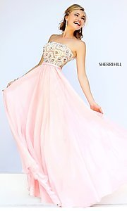 Image of long beaded strapless Sherri Hill prom dress Style: SH-8549 Detail Image 3