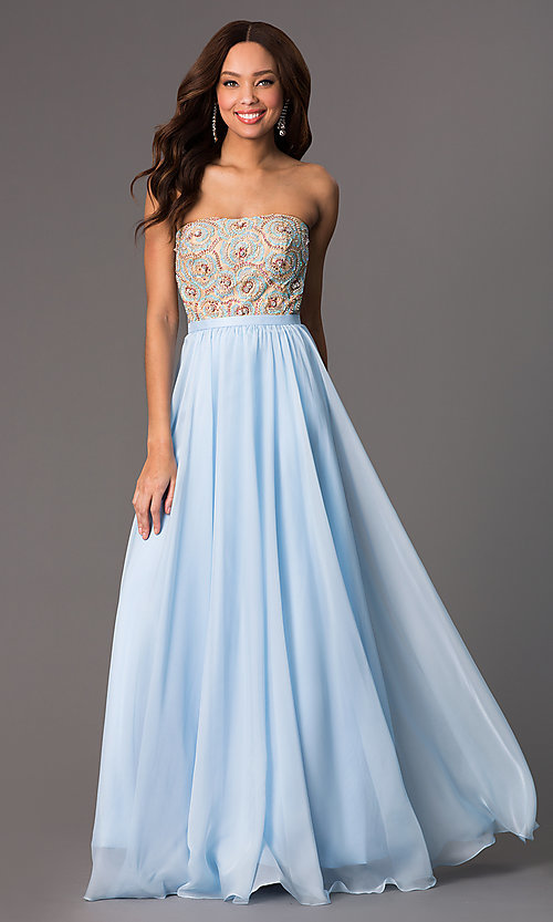 Image of long beaded strapless Sherri Hill prom dress Style: SH-8549 Detail Image 1
