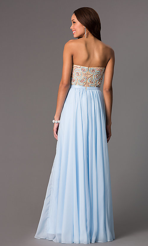 Image of long strapless beaded bodice chiffon skirt dress Style: SH-8549 Back Image