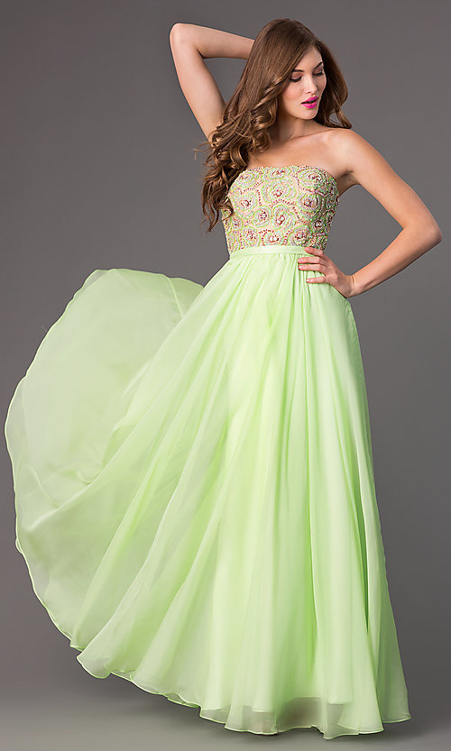 Image of long beaded strapless Sherri Hill prom dress Style: SH-8549 Front Image