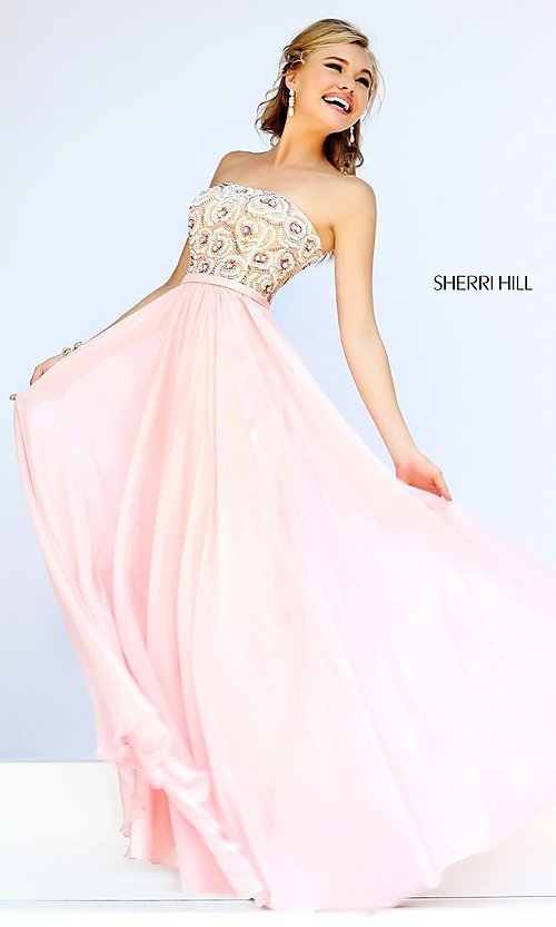 Image of long strapless beaded bodice chiffon skirt dress Style: SH-8549 Front Image