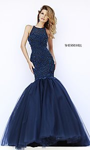 Image of floor length sleeveless beaded mermaid dress Style: SH-32095 Front Image