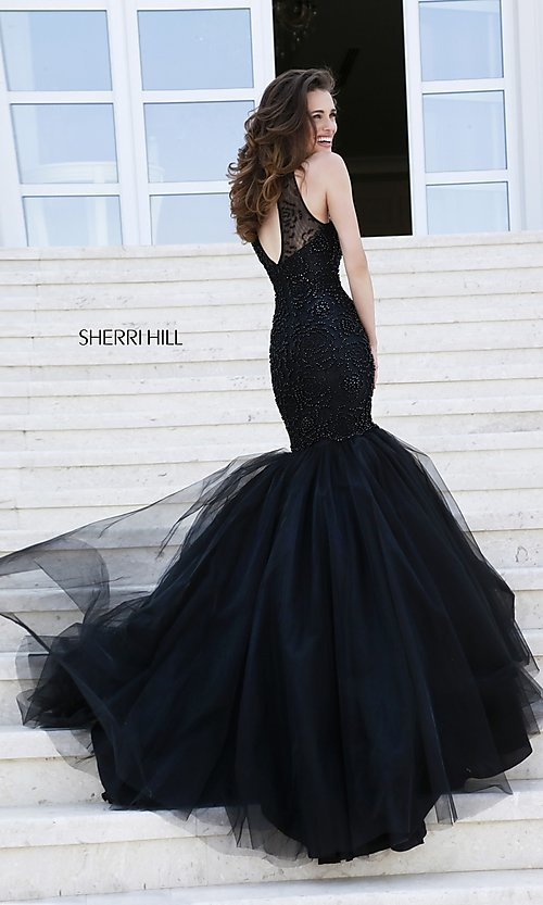 Image of floor length sleeveless beaded mermaid dress Style: SH-32095 Back Image