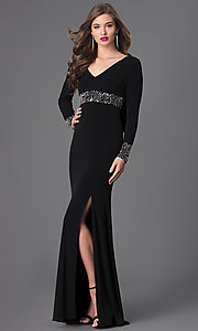 Image of V-Neck Open Back Long Sleeve Shail K Gown Style: SK-3920 Back Image