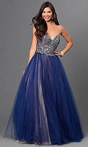 Strapless Floor Length Glamour by Terani Dress with Jewel Bodice