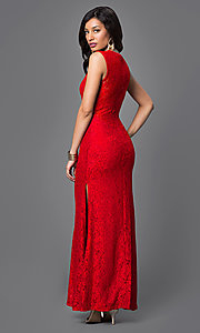 Image of Long Sleeveless Lace Gown Style: TW-4116 Back Image