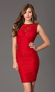 Red Open Back Lace Bodice Holiday Dress-PromGirl