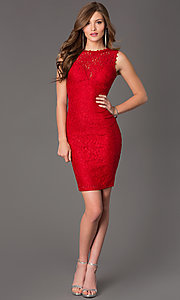 Image of Sleeveless Short Lace Cocktail Dress Style: TW-4139 Detail Image 1