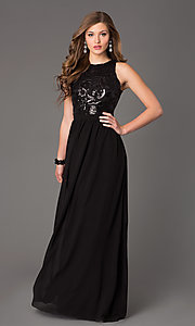Image of Sleeveless Open Back Floor Length Gown Style: TW-4133 Detail Image 2