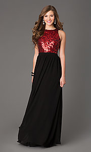 Sequin Sleeveless Open Back Floor Length Gown