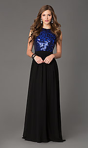Image of Sleeveless Open Back Floor Length Gown Style: TW-4133 Detail Image 3