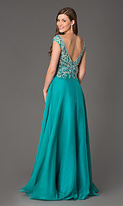 Image of Sleeveless V-Neck Beaded Gown Style: FB-GL2010 Back Image
