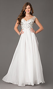 Image of Sleeveless V-Neck Beaded Gown Style: FB-GL2010 Front Image