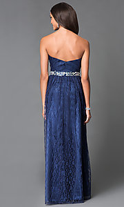 Image of long lace embellished waist strapless sweetheart dress Style: MF-E1796 Back Image