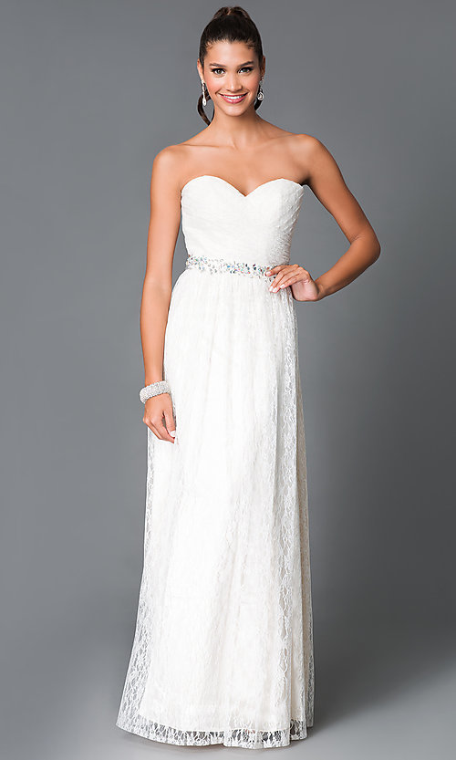 Image of long lace embellished waist strapless sweetheart dress Style: MF-E1796 Front Image