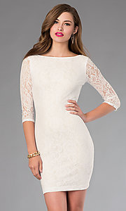 Image of Open Back Short Lace Dress Style: MD-D12513OOL Detail Image 2