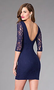 Image of Open Back Short Lace Dress Style: MD-D12513OOL Back Image
