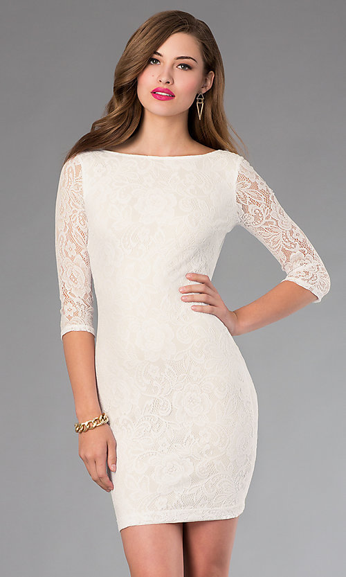 Image of Open Back Short Lace Dress Style: MD-D12513OOL Front Image