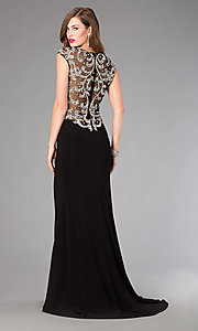 Image of long beaded back cap sleeve black dress Style: FB-GL2039 Front Image