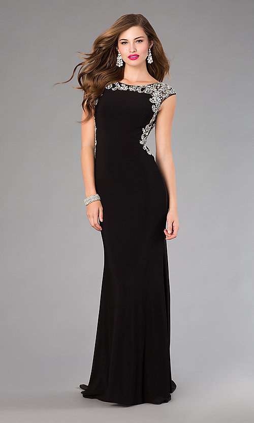 Image of long beaded back cap sleeve black dress Style: FB-GL2039 Back Image