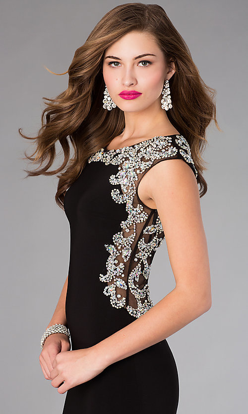 Image of long beaded back cap sleeve black dress Style: FB-GL2039 Detail Image 1