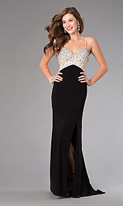 Image of floor length spaghetti strap beaded top black skirt dress Style: DJ-379 Detail Image 1