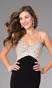 Image of floor length spaghetti strap beaded top black skirt dress Style: DJ-379 Detail Image 2