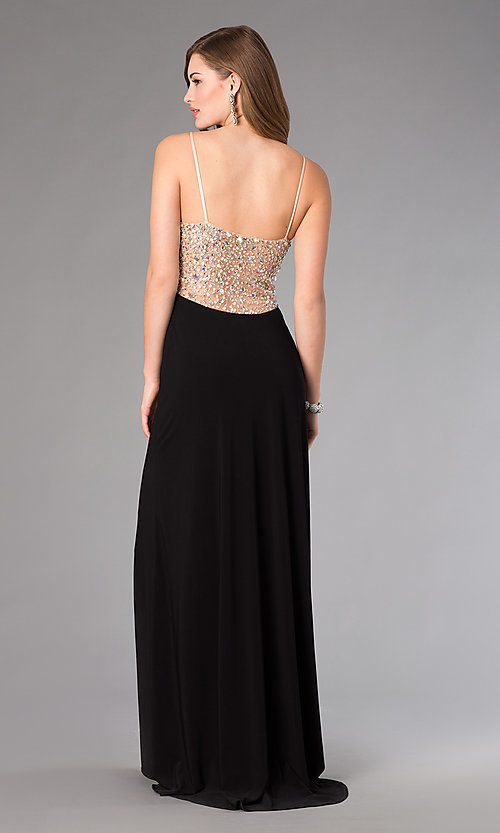 Image of floor length spaghetti strap beaded top black skirt dress Style: DJ-379 Back Image