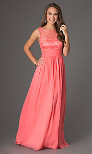 Image of coral long prom dress with illusion lace. Style: DQ-8769c Front Image