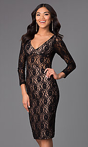 Knee Length Long Sleeve Lace Dress by Atria