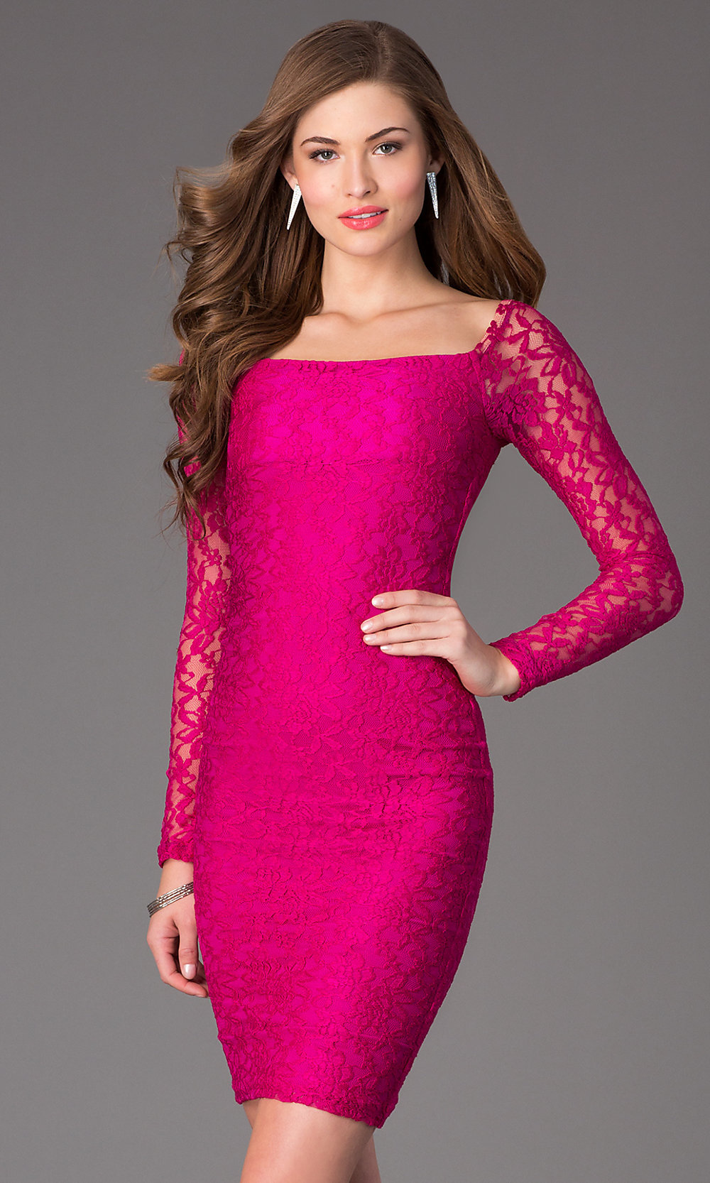 Long Sleeve Lace Knee Length Party Dress Promgirl