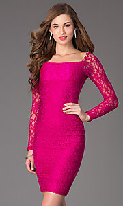 Image of long-sleeve knee-length lace cocktail dress. Style: AT-8214 Detail Image 3