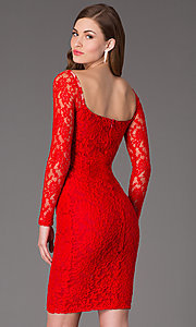 Image of long-sleeve knee-length lace cocktail dress. Style: AT-8214 Back Image