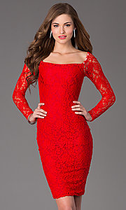 Long-Sleeve Knee-Length Lace Cocktail Dress