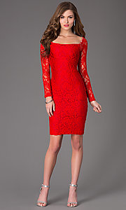 Image of long-sleeve knee-length lace cocktail dress. Style: AT-8214 Detail Image 1