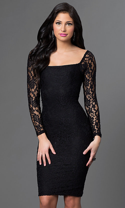 Image of long-sleeve knee-length lace cocktail dress. Style: AT-8214 Detail Image 2