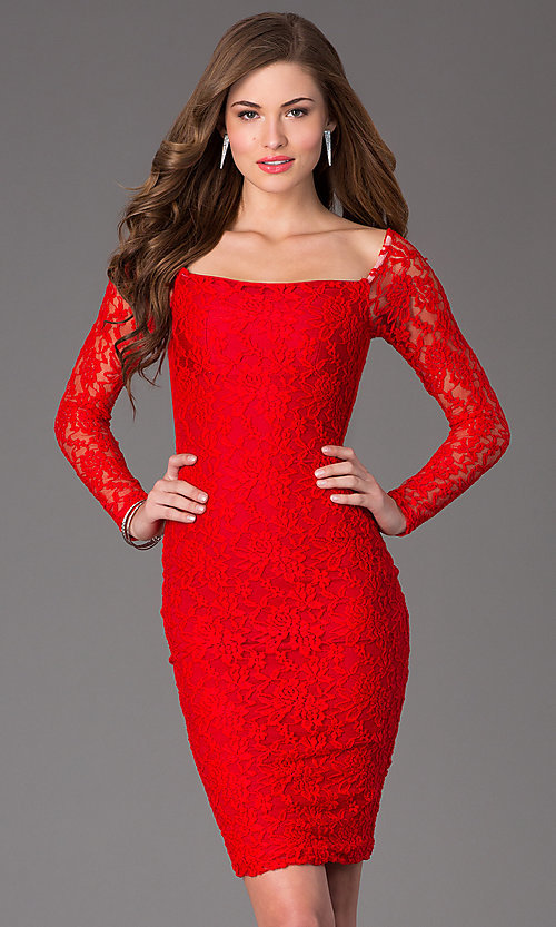 Image of long-sleeve knee-length lace cocktail dress. Style: AT-8214 Front Image