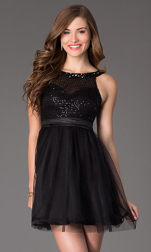 Image of Sleeveless Short Prom Dress Style: LP-22568 Front Image