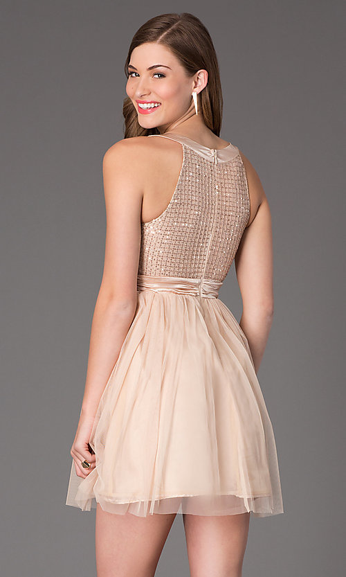 Image of Sleeveless Short Prom Dress Style: LP-22568 Back Image