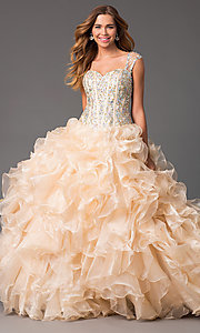 Floor Length Ball Gown with Ruffled Skirt