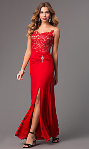 Image of long illusion dress with lace embellished bodice Style: DQ-8913 Front Image