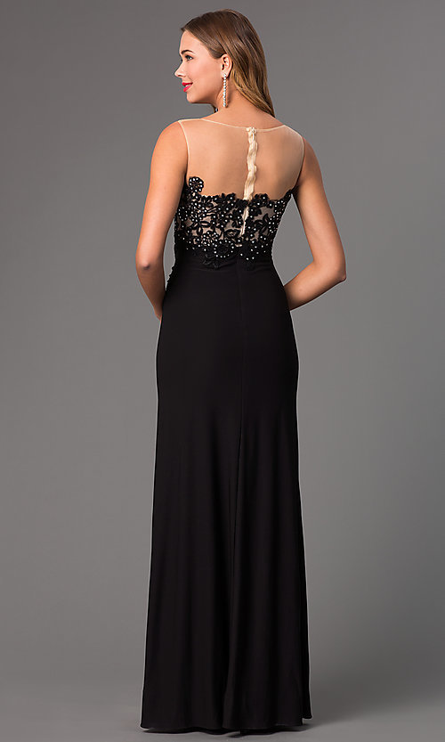 Image of long illusion dress with lace embellished bodice Style: DQ-8913 Back Image