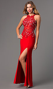 Image of Long Prom Dress with Illusion Bodice Style: DQ-8857 Detail Image 2