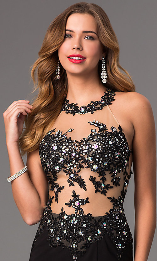 Image of Long Prom Dress with Illusion Bodice Style: DQ-8857 Detail Image 1