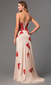 Image of Strapless Lace Gown with Corset Top Style: DQ-8856 Back Image