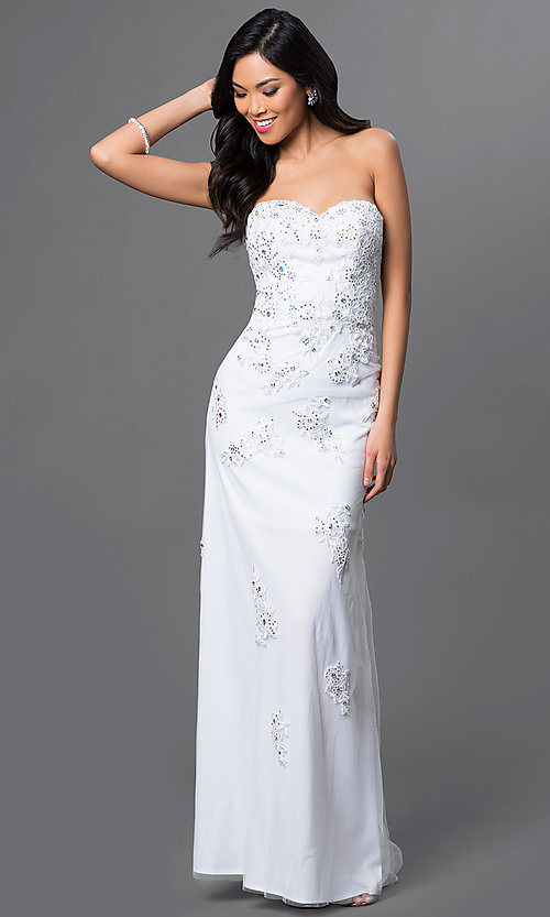 Image of Strapless Lace Gown with Corset Top Style: DQ-8856 Front Image