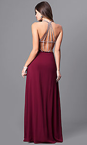 Image of floor length scoop neck detailed back side slit chiffon dress Style: MT-7365 Back Image